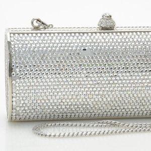 Judith Leiber silver clutch handbag purse NEW